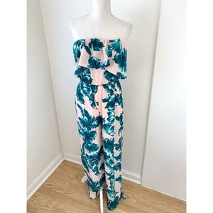Blue Blush Pink Leaf Print Strapless Jumpsuit AP3